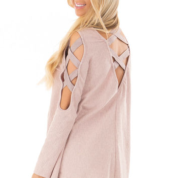 Dusty Pink Cold Shoulder Top with Strap Details