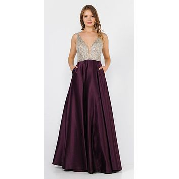 Plum Beaded Bodice V-Neck Long Prom Dress with Pockets