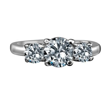 1.50 CT. TW (1 CT. Center) Intensely Radiant Three Stone Diamond Veneer Ring Set in Sterling Silver. 635R71646