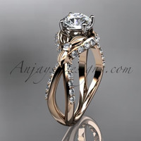 Unique 14kt rose gold diamond flower, leaf and vine wedding ring, engagement ring ADLR218