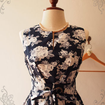 Vintage Inspired Dress, Pockets Dress, Floral Bridesmaid Dress, Navy Summer Dress, Maternity Dress, High Quality Handmade, XS-XL,Custom
