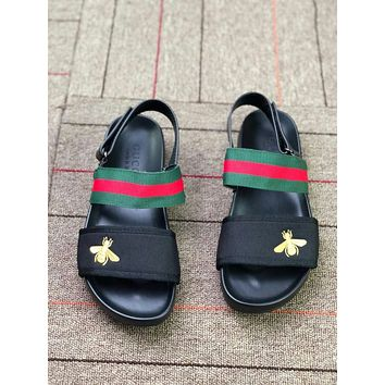 Gucci Trending Stylish Summer Men Women Green Red Stripe Bee Embroidery Sandals Slippers Shoe I-CSXY
