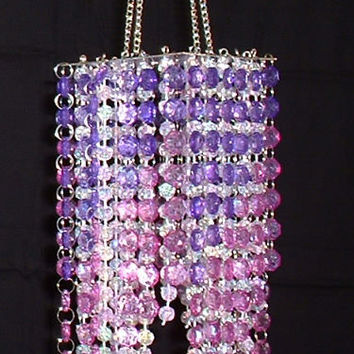 Hand Beaded Chandelier -- Purple & Lavender -- 20 Inches Long