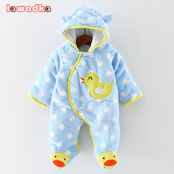 Baby Rompers Winter Thick Warm Baby Clothing Long Sleeve Hooded Romper Baby Girl One Pieces Clothes Jumpsuits Infantil
