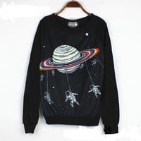 Fashion 2013 New Sweatshirt Women Cartoon Pullovers Letter Galaxy Sweater Print Space Star 3d Sweatshirts Hoodies Top