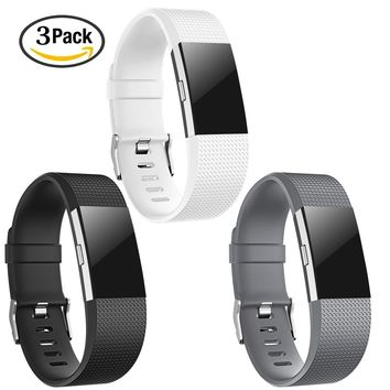 Fitbit Charge 2 Strap Replacement Bands Silicone Fitness Wristband Large 3 Pack