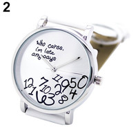 New Design Letters Dial Leather Strap Quartz Bracelet Watch
