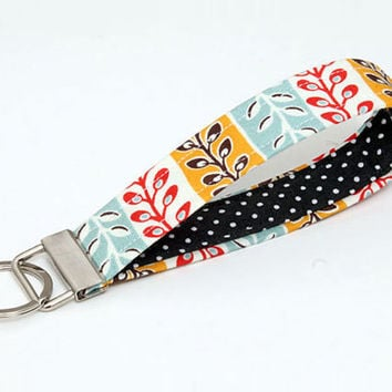 Key fob loop , fabric key chain wristlet, keyring - bright coral red yellow and aqua leaves black and white polka dots