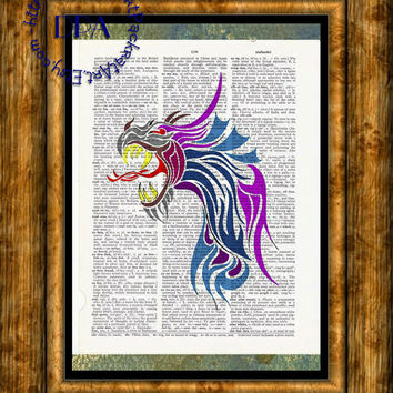 Shades of Purple Dragon Head Art - Vintage Dictionary Page Art Print Upcycled Page Print, Fantasy Art Print