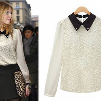 Vintage Style Collared Lace Embroidery Body Blouse