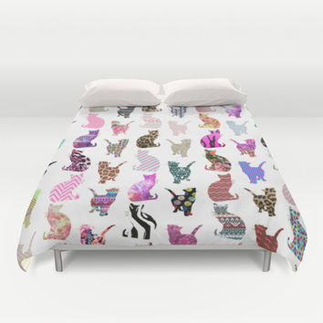 Girly Whimsical Cats aztec floral stripes pattern Duvet Cover by Girly Trend