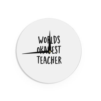 "Kristi Jackson ""Worlds Okayest Teacher"" Black Typography Wall Clock"