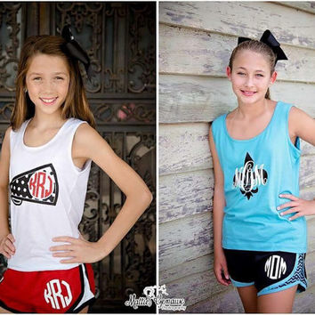 Custom Cheer Outfit, Matching Cheer bow, Tank top or T shirt, Monogram shorts Set, Squad Orders Welcome, Girl's and Women's sizes