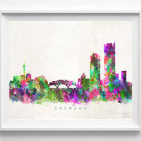 Chengdu Skyline Print, China Print, Chengdu Poster, Watercolor Art, Wall Art, Cityscape, Home Decor, Giclee Art, Christmas Gift