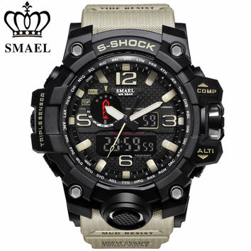 SMAEL Brand Waterproof Fashion Watch Men Sport Analog Quartz-Watch Dual Display LED Digital Electronic Watches relogio masculino