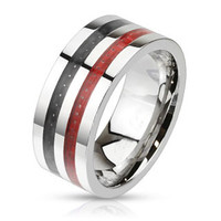 Start Your Engine – FINAL SALE Black and red carbon double inlay wide polished band stainless steel ring