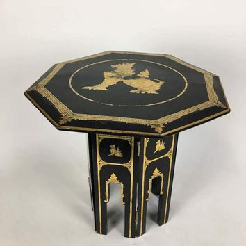 Thai Gold Painted Black Lacquer Side Table