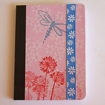 Dragonfly and Agapanthus Mini Journal, Pink Pocket Notebook, Altered Composition Book