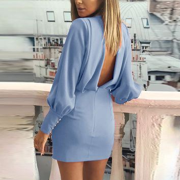 Elegant backless long sleeve women dresses Sexy ruched high waist bodycon dress Plus size party female vestidos dresses