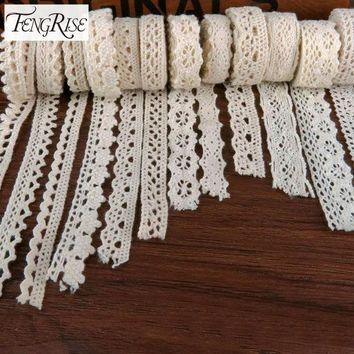DCCKWQA Apparel Sewing Fabric 5Yards DIY Ivory Cream Trim Cotton Crocheted Lace Fabric Ribbon Handmade Accessories Craft