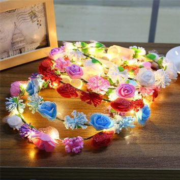Glowing Wreaths Flower Hairband Crown LED Holiday Light LED Wedding Party Christmas Garland String Light Decoration