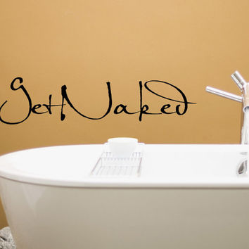 GET NAKED Wall Decal Vinyl Sticker Home Decor For Bathroom Kwds: Shower  Door Toilet Bath