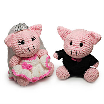 Mr. & Mrs. Piggy Weds Crochet Dolls, Handmade Pig Doll Plush Toys