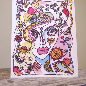 sugar skull style illustration // colorful art print // original illustration print // original artwork // day of the dead style art
