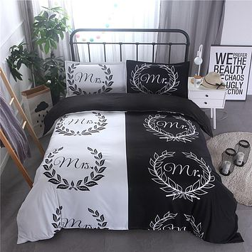 Black And White Color Bedding For Lover Used Reactive Printed Cotton Blend Mr. Mrs. Bed Linen housse de coue Bedding Kit