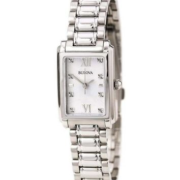 Bulova Womens 96P157 Diamond Accent Quartz Silver Watch