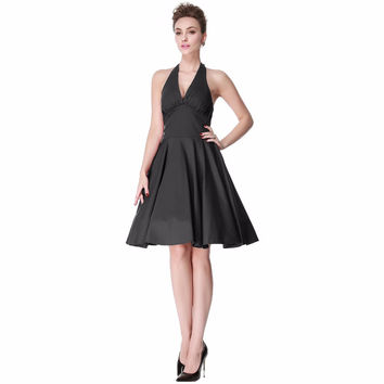 Heroecol Women Halter V Neck Sleeveless Vintage 50s 60s Swing Style Dresses Rockabilly 1950s 50's Party Black Dress