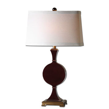 Uttermost 27508-1 Aileen High Gloss Oxblood Red and Antiqued Gold One-Light Table Lamp