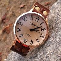 Retro style watch,Brown Leather Bracelet Watch, Handmade Women's Watch, Men Watch PB246