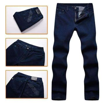 Jeans Mens Comfort Cotton Thick Business Casual