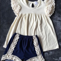 In Stock -Denim & Lace short set
