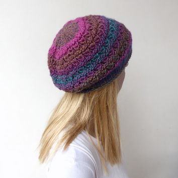 Hand knit Hat - knit beret - lace knit beanie - pink slouch hat