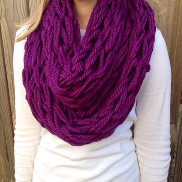Purple Arm Knit Scarf, Thick Cowl, Chunky Infinity Scarf