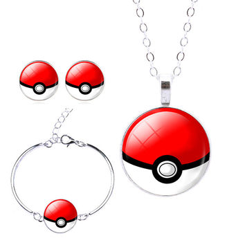 Famous Brand Silver Jewerly Glass Cabochon Pokeball with Pokemon Stud Earrings Necklace Bracelet Bangle Jewelry Sets2016