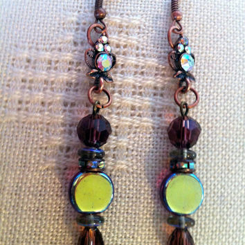 Trendy Antique Copper Long Dangle Earrings  Czech Pressed Glass Amethyst Colour Crystals Round Flat Beads Rhinestone Links