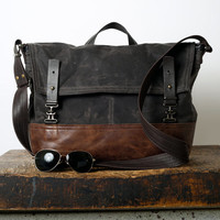 1909 waxed canvas & leather laptop bag - cross body messenger bag - canvas messenger bag - laptop case - unisex - select your size