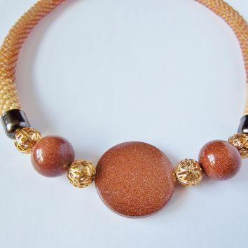 Fancy Goldstone Necklace, Bead Crocheted with Toho Seed Beads , 19 Inch Long