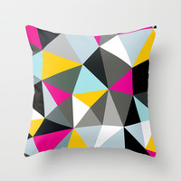 Comic Book Tris Throw Pillow by Beth Thompson