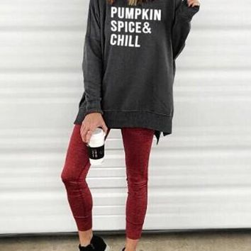 New Grey-White Monogram Pumpkin Spice Chill Pattern Double Slit Halloween Oversized Casual Pullover Sweatshirt