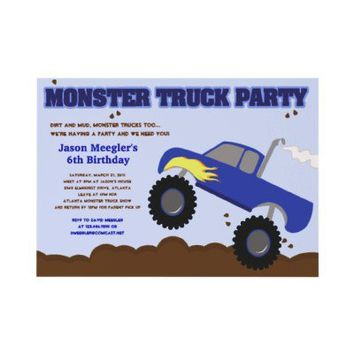 MONSTER TRUCK 5x7 Birthday Invitations from Zazzle.com