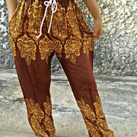 Paisleys Indian pattern Yoga Exercise Pants Boho Styles Hippies Gypsy Aladdin Trousers Meditation Massage Clothing Summer festival in brown