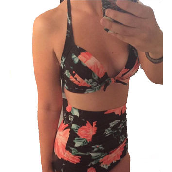 2016 Push up High Waist Swimsuit Women Floral Print Retro Vintage Bathing Suit Biquini Plus Size Swimwear Brazilian Bikini