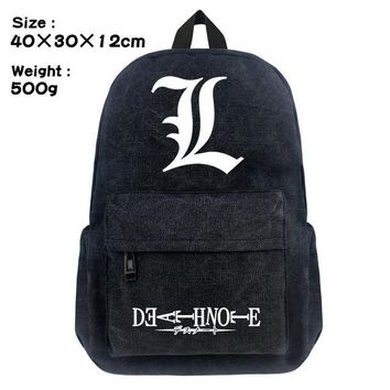 Anime Backpack School FVIP 16 inch kawaii cute Death Note Black Backpack Canvas School Bag for Young AT_60_4