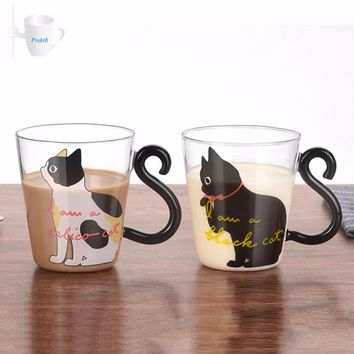 Cute Creative Cat with Tail Handle Glass  Cup/Mug 2 Colors