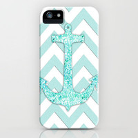 Glitter Nautical Anchor, Teal Blue Chevron Pattern iPhone Case by productoslocos | Society6
