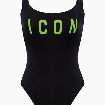 Icon Low Back One Piece Swimsuit - Black/Neon Green